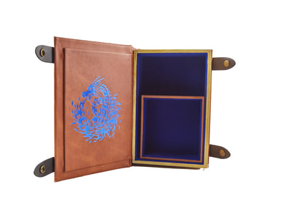 Fire Dragon Book-Shaped BLUEVelvet Fire Rolling Magic Book Tray for All Tabletop RPGs Like D&D , Call of Cthulhu, Shadowrun.
