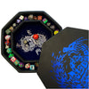 "Blue Fire Dragon Wizard  - Dice Tray - 8"" Octagon with Lid and Dice Staging Area"