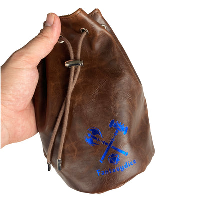 Fantasydice Brown Leather Blue Logo Dice Bag with Side Pockets and Large Inner Pocket  With Belt Attachment- Only Available in US