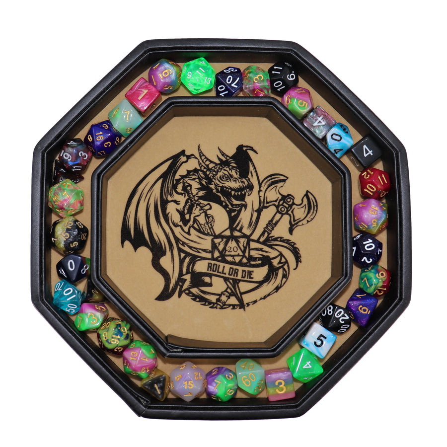 "Chromatic Gold Fire Dragon Dice Tray 8"" Octagon with Lid and Dice Staging Area- Only Available in US"