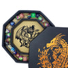 "Chromatic Gold Fire Dragon Dice Tray 8"" Octagon with Lid and Dice Staging Area"