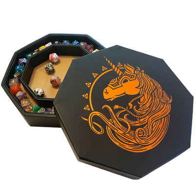 "Chromatic War Unicorn - Dice Tray - 8"" Octagon with Lid and Dice Staging Area"