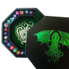 "Green Cthulhu Tome- Dice Tray - 8"" Octagon with Lid and Dice Staging Area- Holds 5 Sets of Dice(7 / Standard) for All Tabletop RPGs"