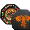 "Chromatic Cthulhu Tome- Dice Tray - 8"" Octagon with Lid and Dice Staging Area"