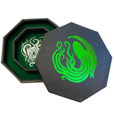 "Green Eldritch Cthulhu Tome- Dice Tray - 8"" Octagon with Lid and Dice Staging Area"
