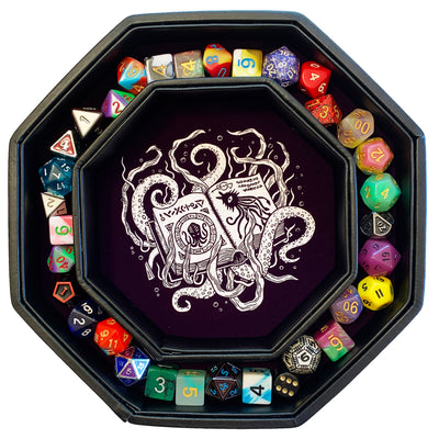 "Purple Eldritch Cthulhu Tome- Dice Tray - 8"" Octagon with Lid and Dice Staging Area"