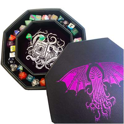 "Purple Cthulhu Tome- Dice Tray - 8"" Octagon with Lid and Dice Staging Area"