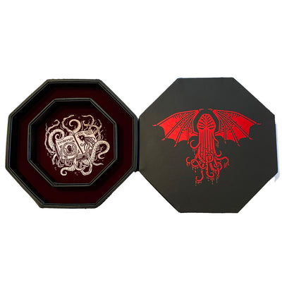 "Blood Red Cthulhu Tome- Dice Tray - 8"" Octagon with Lid and Dice Staging Area"