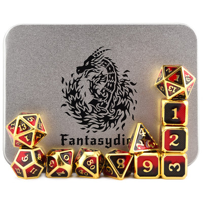 Red Dragon Scales Metal Dice Set (11 Dice Set) - Only Available in US