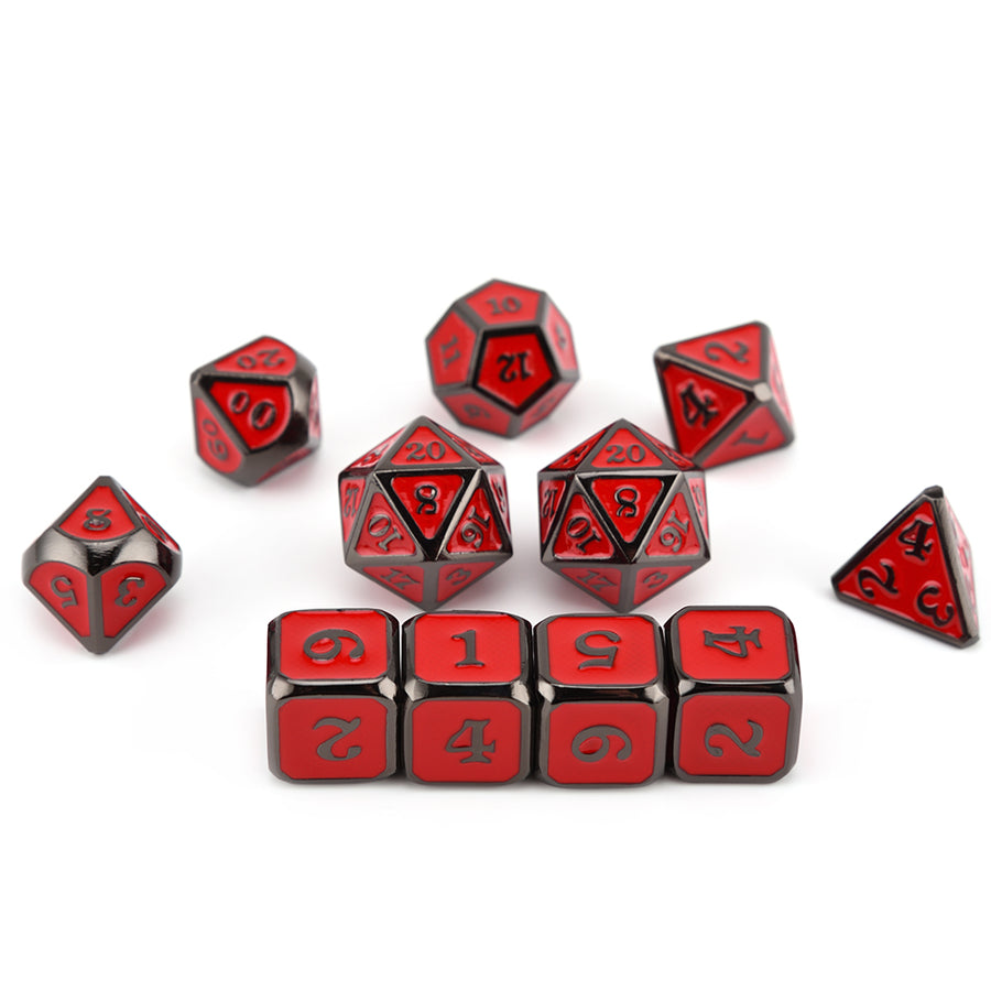Black Dragon Scales Metal Dice Set (11 Dice Set)- Only Available in US
