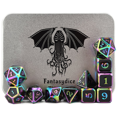 Cthulhu Scale Armor Rainbow Metal Dice Set (11 Dice Set)- Only Available in US