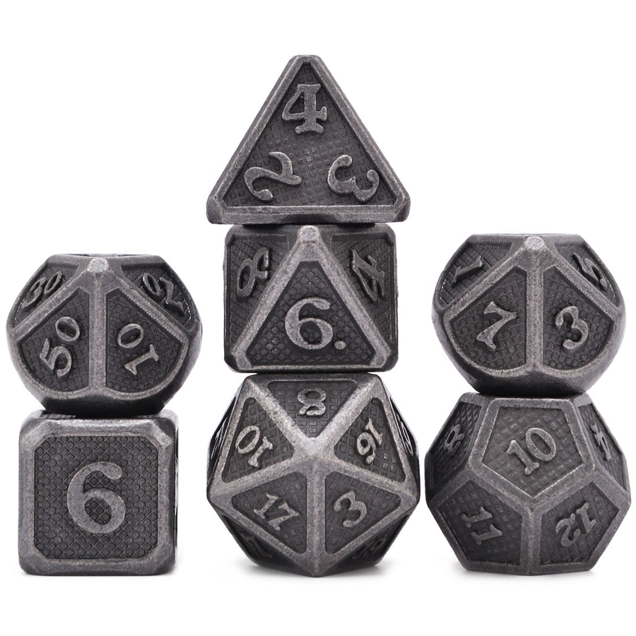 Scale Armor polyhedral Metal Dice 7 Dice Set with Metal Box- Only Available in US