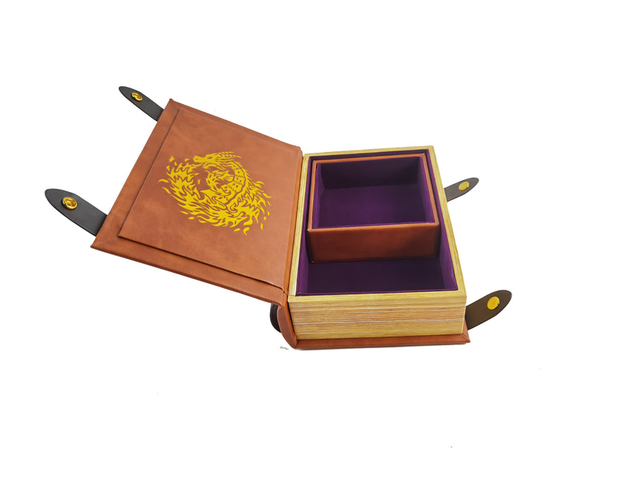 Fire Dragon Book-Shaped Gold Deep Purple Velvet Fire Rolling Magic Book Tray for All Tabletop RPGs Like D&D , Call of Cthulhu, Shadowrun.
