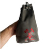 Fantasydice Gray Leather Red Logo Dice Bag with Side Pockets and Large Inner Pocket  With Belt Attachment- Only Available in US