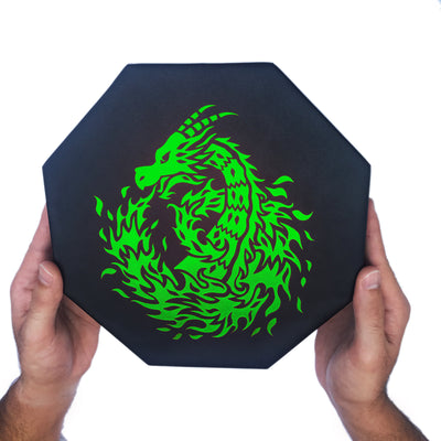 "Green Fire Dragon - Dice Tray - 8"" Octagon with Lid and Dice Staging Area"