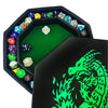 "Green Fire Dragon - Dice Tray - 8"" Octagon with Lid and Dice Staging Area- Holds 5 Sets of Dice(7 / Standard) for All Tabletop RPGs"