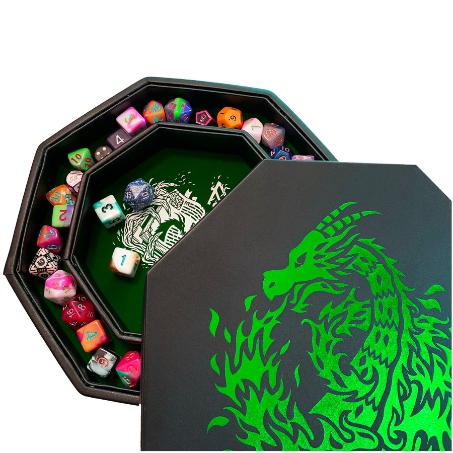 "Green Fire Dragon - Dice Tray With Spellbook Art 8"" Octagon with Lid and Dice Staging Area - Not available in EU"