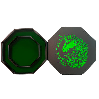 "Green War Unicorn - Dice Tray - 8"" Octagon with Lid and Dice Staging Area"