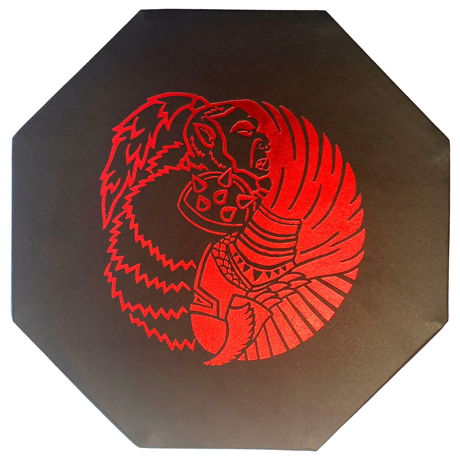 "Orc VS Paladin Yin And Yang RED - Dice Storage And Rolling Tray - 8"" Octagon with Lid and Dice Staging Area- Holds 5 Sets(7 Dice Set/Standard) for All Tabletop RPGs"