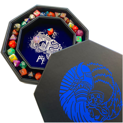 "Orc VS Paladin Yin And Yang Blue- Dice Storage And Rolling Tray - 8"" Octagon with Lid and Dice Staging Area- Holds 5 Sets(7 Dice Set/Standard) for All Tabletop RPGs"