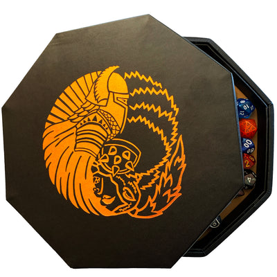 "Orc VS Paladin Yin And Yang Chromatic- Dice Storage And Rolling Tray - 8"" Octagon with Lid and Dice Staging Area- Holds 5 Sets(7 Dice Set/Standard) for All Tabletop RPGs"