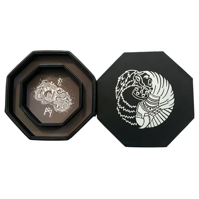 "Orc VS Paladin Yin And Yang SILVER - Dice Storage And Rolling Tray - 8"" Octagon with Lid and Dice Staging Area- Holds 5 Sets(7 Dice Set/Standard) for All Tabletop RPGs"