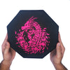"Pink Fire Dragon - Dice Tray - 8"" Octagon with Lid and Dice Staging Area"