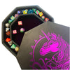 "Purple War Unicorn - Dice Tray - 8"" Octagon with Lid and Dice Staging Area"