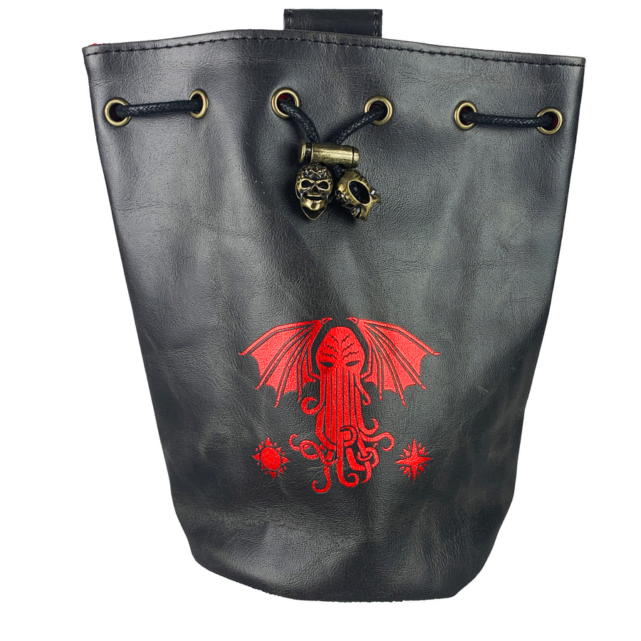 Black/Red Cthulhu Dice Bag With 4 Side Pockets And 1 Large Inner Pocket Fits More Than 250 Polyhedral Dice And With A Belt Attachment For Easy Carrying Dnd Dice For Dungeons And Dragons
