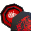 "RED Fire Dragon Wizard - Dice Tray - 8""/20CM Octagon with Lid and Dice Staging Area"