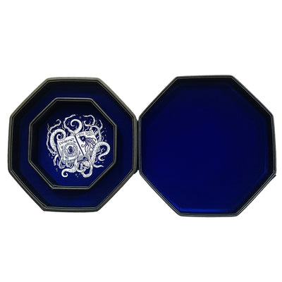 "Blue Eldritch Cthulhu Tome- Dice Tray - 8"" Octagon with Lid and Dice Staging Area"