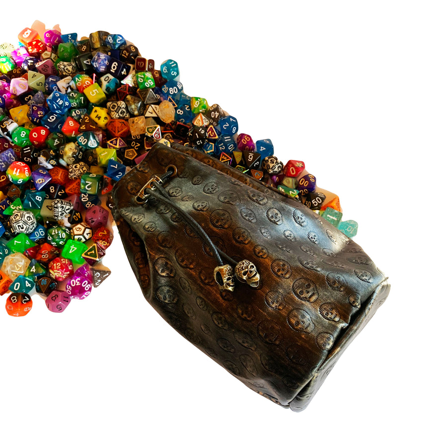 Skull Dice Bag with Side Pockets and Large Inner Pocket With Belt Attachment