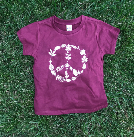 Leaf Peace Sign Kids Tee