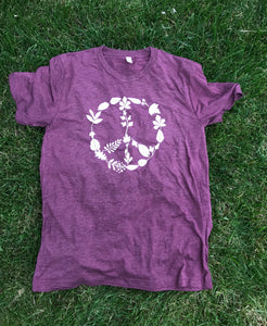 Leaf Peace Sign Adult Tee