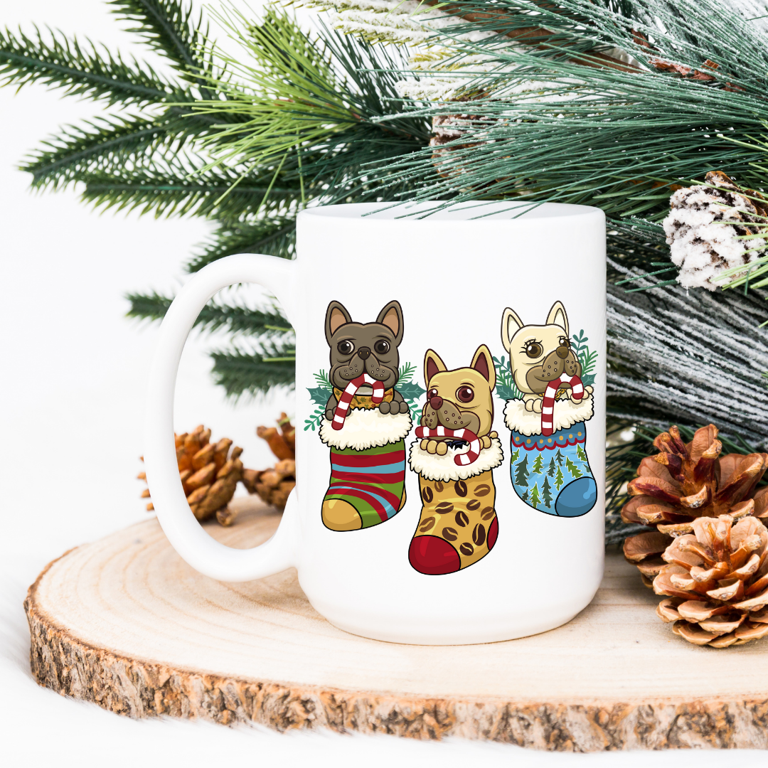 Pups in Stockings Mug - Frenchie Coffee Roasters