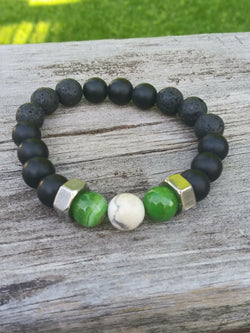 Green and Black Hex Nut Bracelet