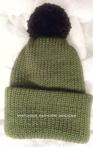 Slouchy Double Brim Cozy Knitted Hat w/Faux uF Pom - Virtuous Fashion Designz/God's Truth Clothing
