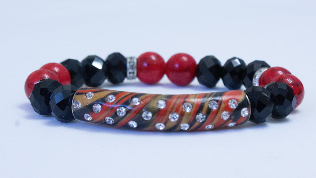 Black and Red Women's Handmade Bracelet