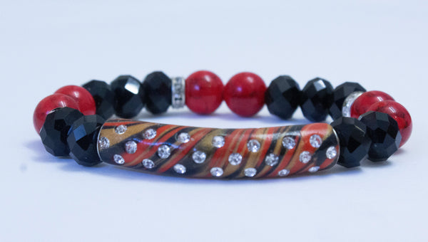 Black and Red Women's Handmade Bracelet - Virtuous Fashion Designz/God's Truth Clothing