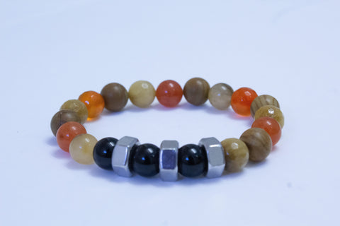 Men's Earth Tone Hex Nut Bracelet