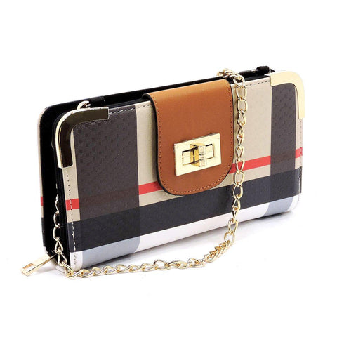 BT041 PLAID SIGNATURE WALLET w/LONG STRAP