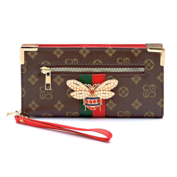 QUEEN BEE MONOGRAMMED STRIPE CLUTCH WRISTLET WALLET