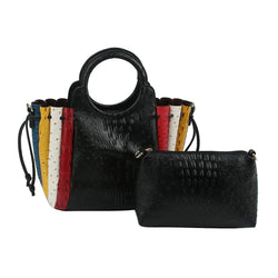 OSTRICH CROC PATCHWORK STRIPE 2-IN-1 SATCHEL
