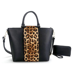 2-in-1 BLUE LEOPARD ACCENT SATCHEL SET