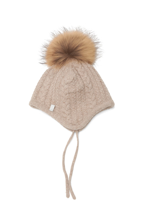 The Baby Pom Pom Hat in Beige