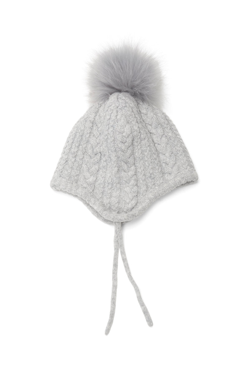 The Baby Pom Pom Hat in Grey