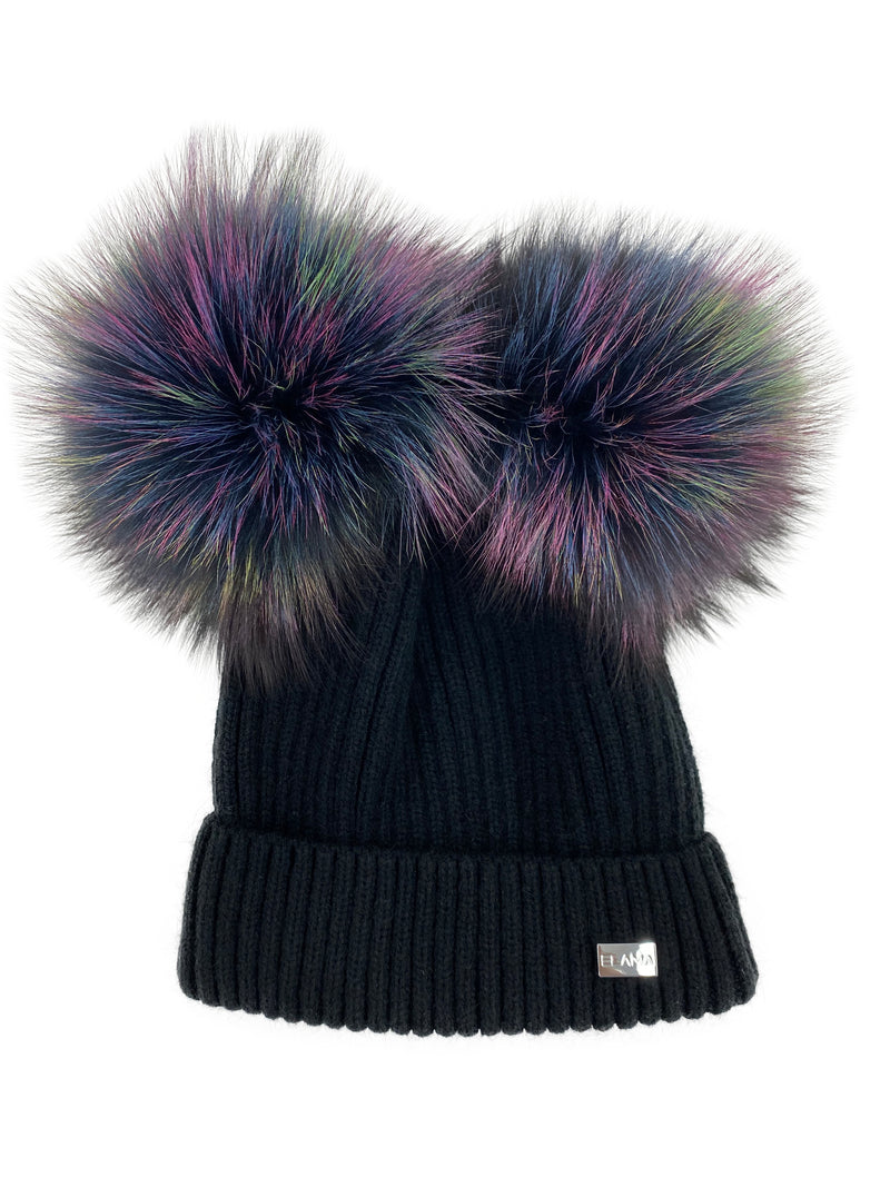 The Maggie Hat with Rainbow Pom Poms