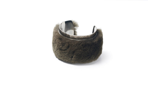 Silvia Beaver And Leather Bracelet