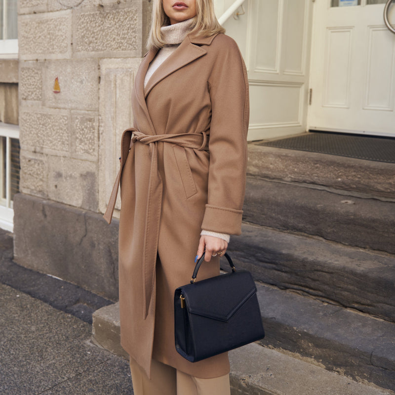 Harper Beige Coat in Camel