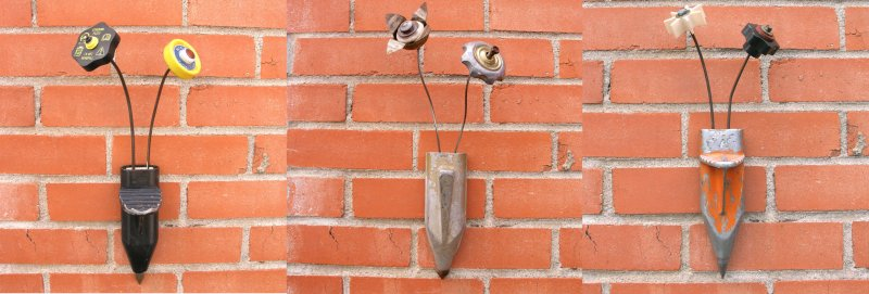 Metal wall pocket vases & flowers